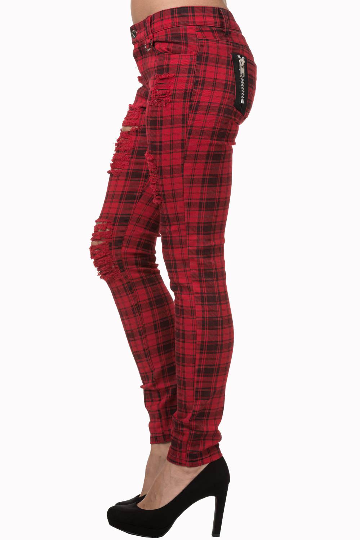 Pantalon carreaux rouge et noir avec trous punk rock for Pantalon a carreaux