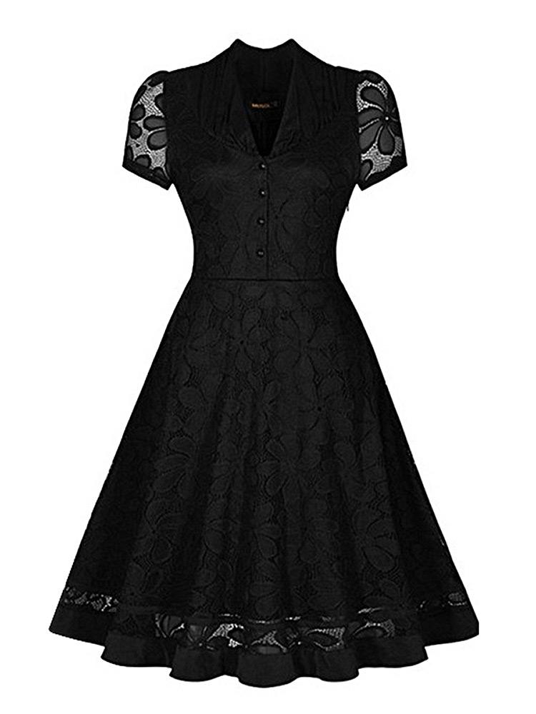 robe noire coupe vintage avec motif floral et manches courtes rockabilly pin up japan attitude. Black Bedroom Furniture Sets. Home Design Ideas