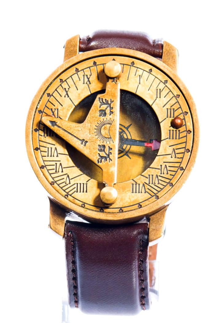 Montre Boussole Bracelet En Cuir Marron 224 Cadran Solaire