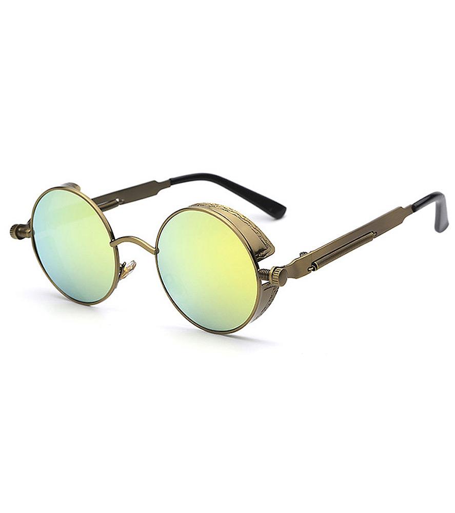 93e21a4fa6f149 Lunettes rondes dorées à verres jaune vert, steampunk retro vintage ...
