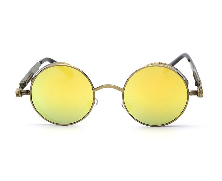 7e2618638dd Lunettes rondes dorées à verres jaune vert