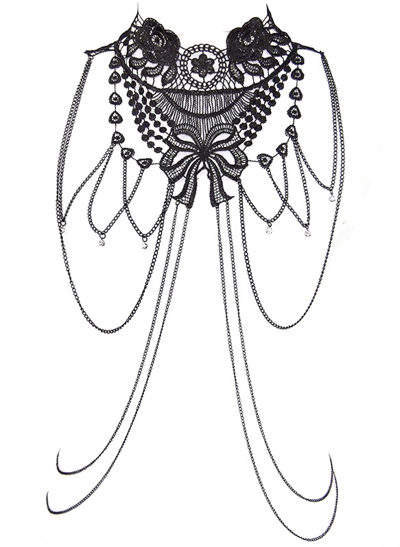 cha ne de corps et collier harnais dentelle noire roses et noeud sexy gothique japan. Black Bedroom Furniture Sets. Home Design Ideas