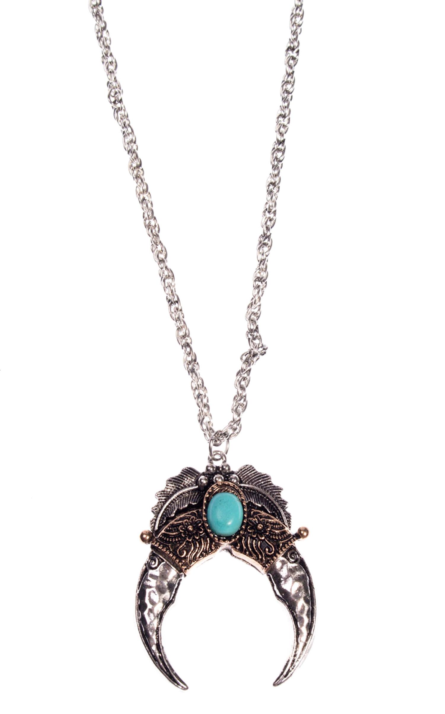a856f06df053f Collier argenté avec croissant de lune et pierre bleue, vintage ...
