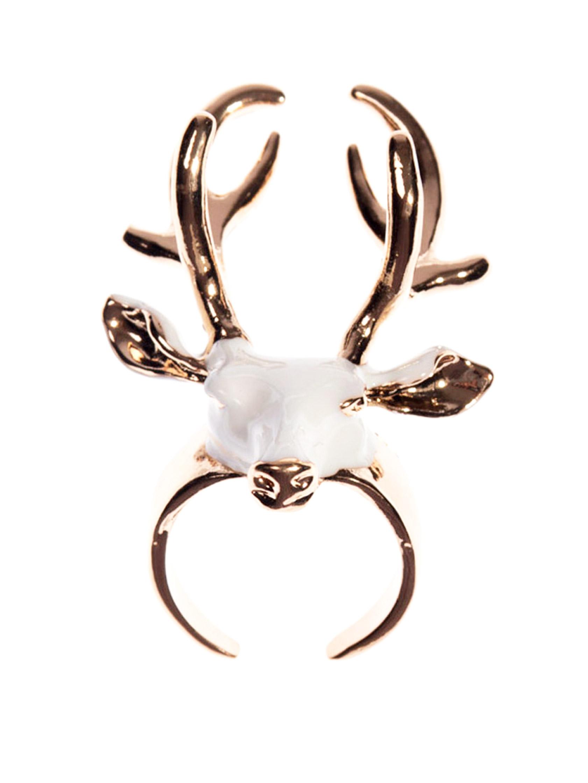 comment acheter usa pas cher vente comment trouver Bague dorée et blanche tête de cerf réglable, sorcière occulte vintage  Référence : ACCBAG173