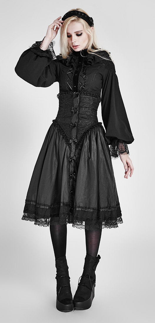58186b4512b515 Black chiffon gothic lolita blouse with long large sleeves, elegant  aristocrat victor