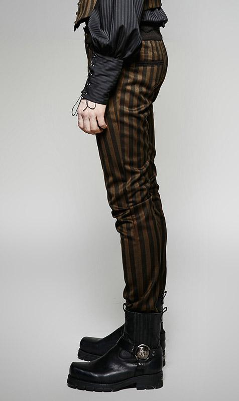 Pantalon Rave Steampunk Punk Rayures Marron Noir Verticales Homme Et rrdq8wU