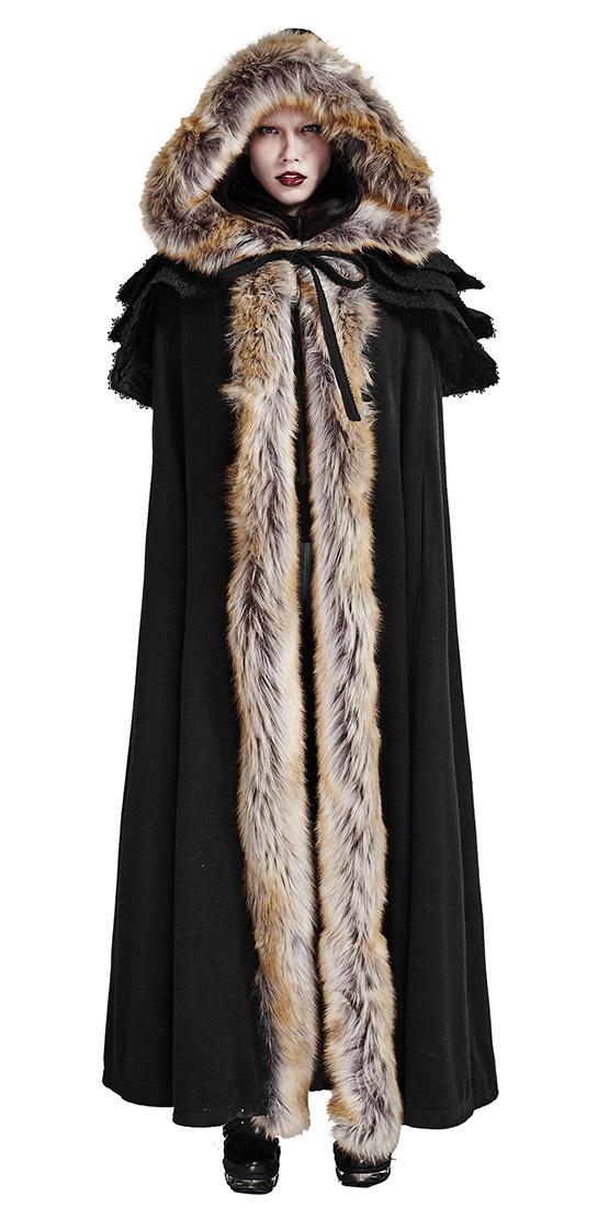 Longue cape d 39 hiver noire avec fausse fourrure beige gothique witchy medieval japan attitude - Cape femme hiver ...