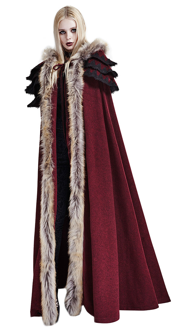 17ff0c1b Long deep red winter cloak with camel faux fur gothic witchy medieval Punk  Rave SKU : PUNKR0195