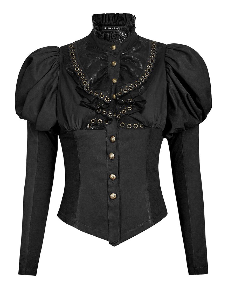 chemise jabot noire gothique steampunk avec manches bouffantes punk rave japan attitude. Black Bedroom Furniture Sets. Home Design Ideas