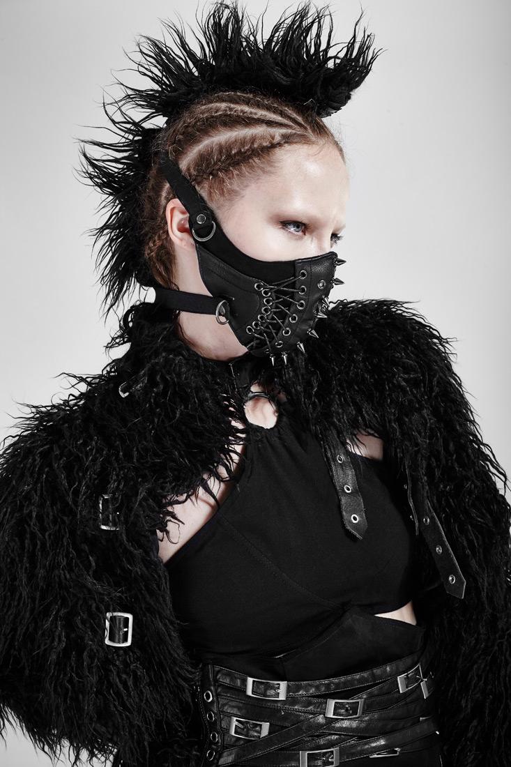 masque femme bas du visage punk  u00e0 piques et la u00e7age punk