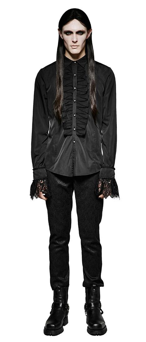 6e6155956c0156 Chemise homme noire aristocrate froufrous Punk Rave gothique romantique