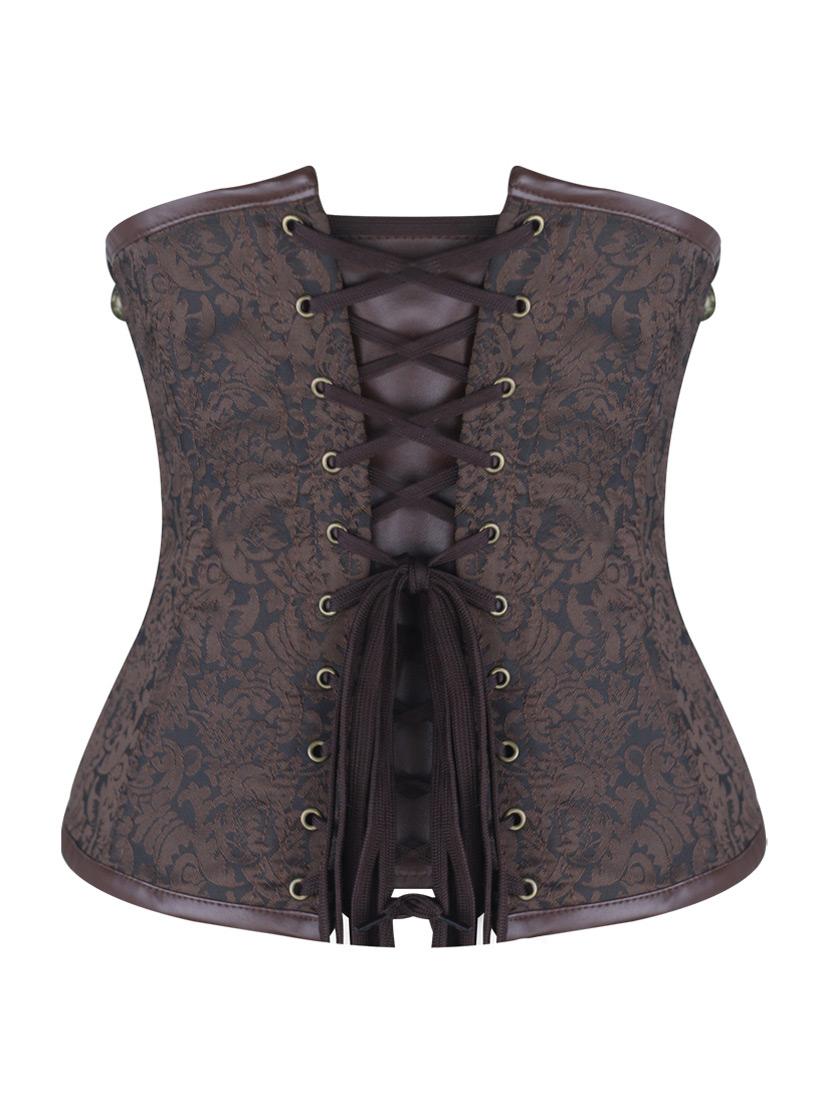 serre taille corset steampunk motif vintage marron et imitation cuir avec chaines japan. Black Bedroom Furniture Sets. Home Design Ideas