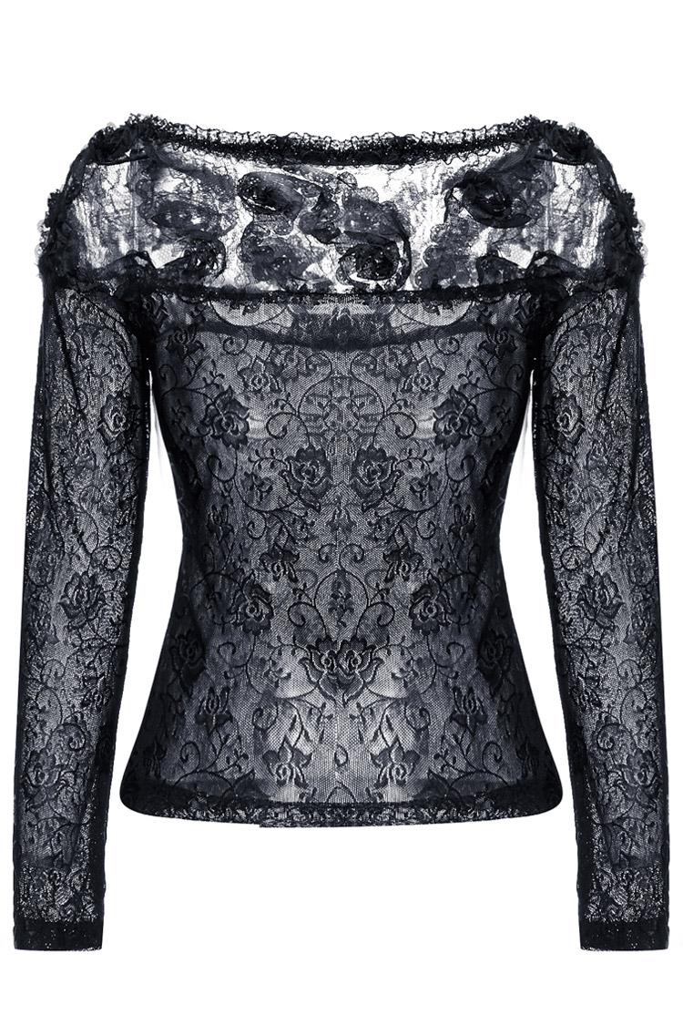 haut noir en dentelle transparente avec motif floral 3d gothique romantique darkinlove japan. Black Bedroom Furniture Sets. Home Design Ideas