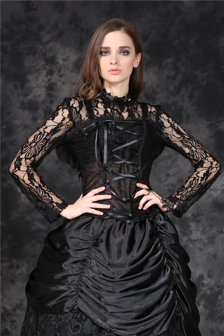 Haut noir en dentelle transparente avec laçage gothique romantique  Darkinlove 4 4 sur 8 ... f9b61e604e1