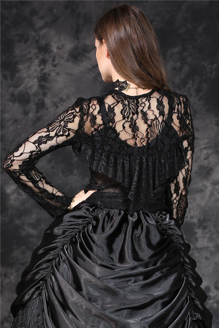 Haut noir en dentelle transparente avec laçage gothique romantique  Darkinlove 5 5 sur 8 ... ec5001d4555