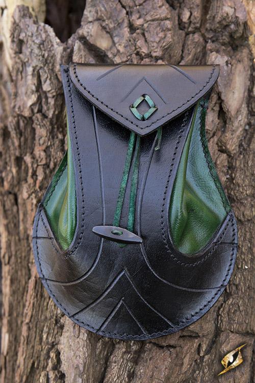sacoche pour ceinture en cuir tann noir et vert m di val elfique fantaisie elfe japan. Black Bedroom Furniture Sets. Home Design Ideas