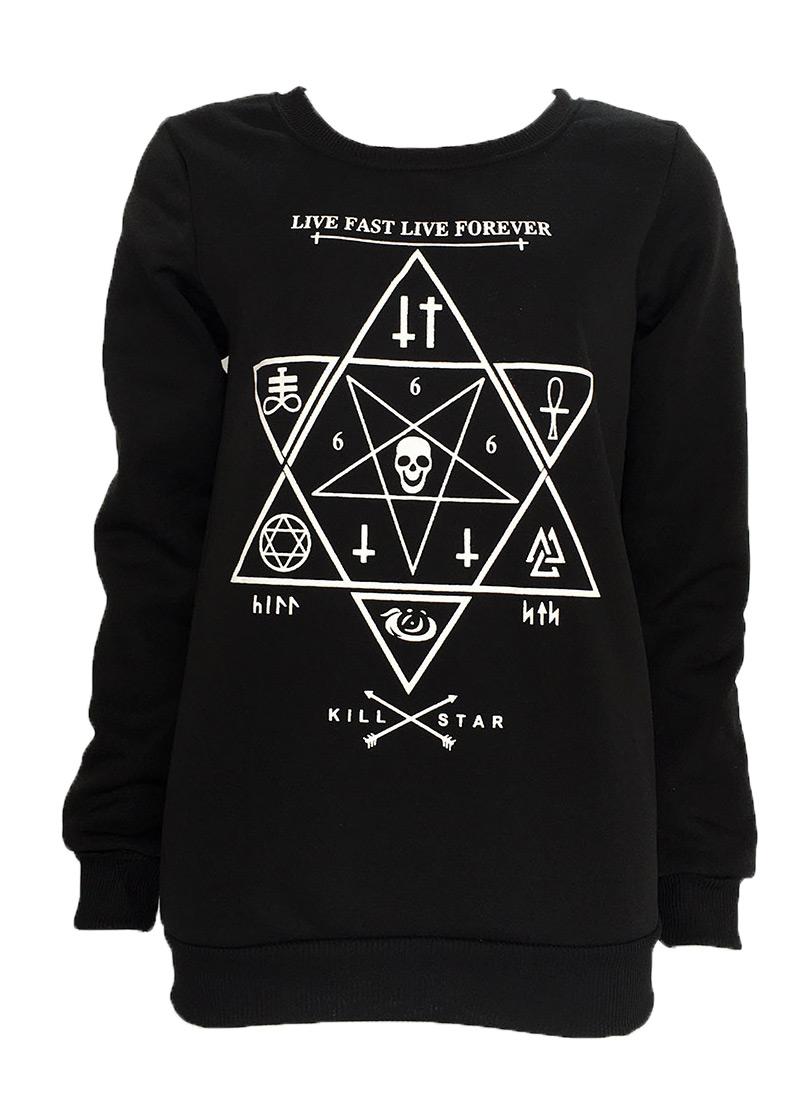 Black Thin Sweat Shirt With Occult Symbols Pentacle Cross Alchemy Navy Skull