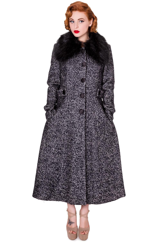 Manteau gris et noir avec fausse vintage retro pinup, année 50, banned Référence : BANNED148