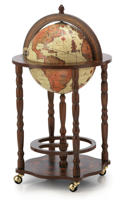 mappemonde globe terrestre safari bar sur roulette reproduction vintage meuble steampunk japan. Black Bedroom Furniture Sets. Home Design Ideas