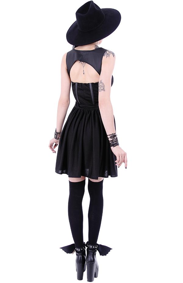 robe noire avec bretelles sangles cuir gothique fashion witch so restyle ebay. Black Bedroom Furniture Sets. Home Design Ideas