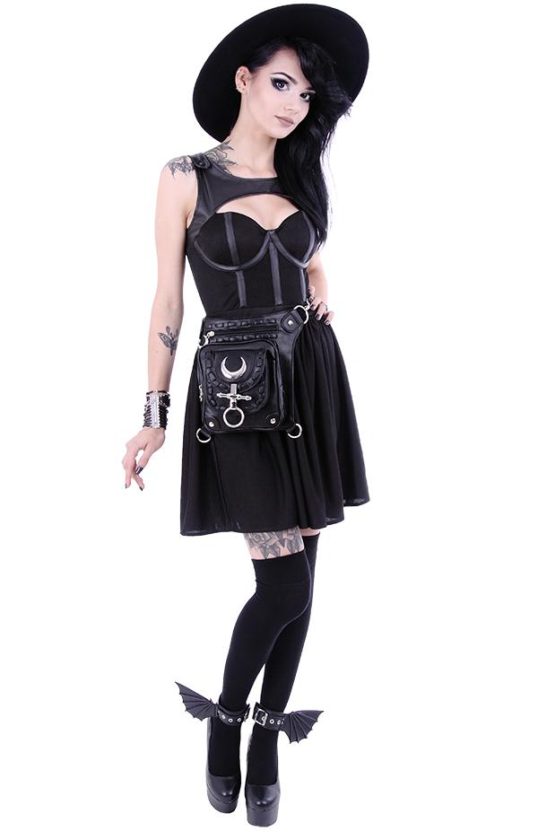 Abito Cos Cinturini gotica Strega pelle con cinghie in nero Moda awrazqR