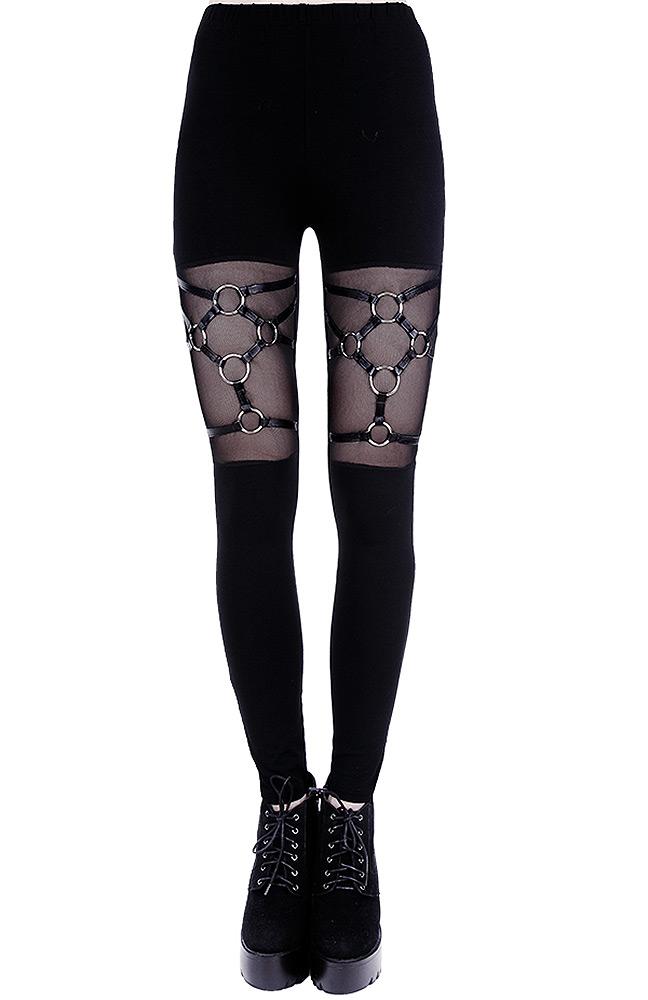 Leggings black harnais avec anneaux, lanières cuir, pantalon gothiqu Restyle