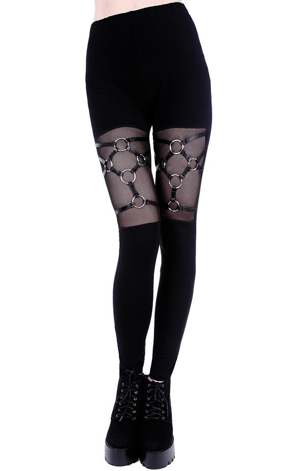 Restyle Gothic Nugoth Punk Occult Pentagram High Waist Stretchy Cotton Leggings