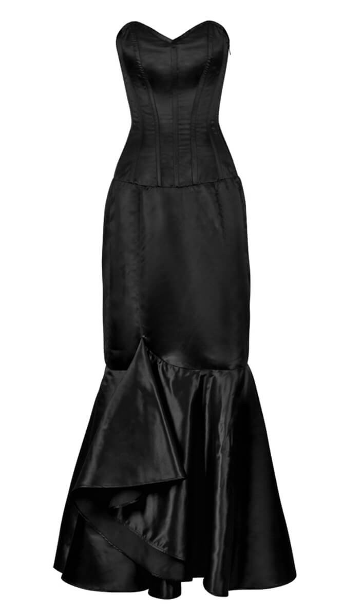 Kleid korsett satin schwarz elegant gotik schick und lang rock ...