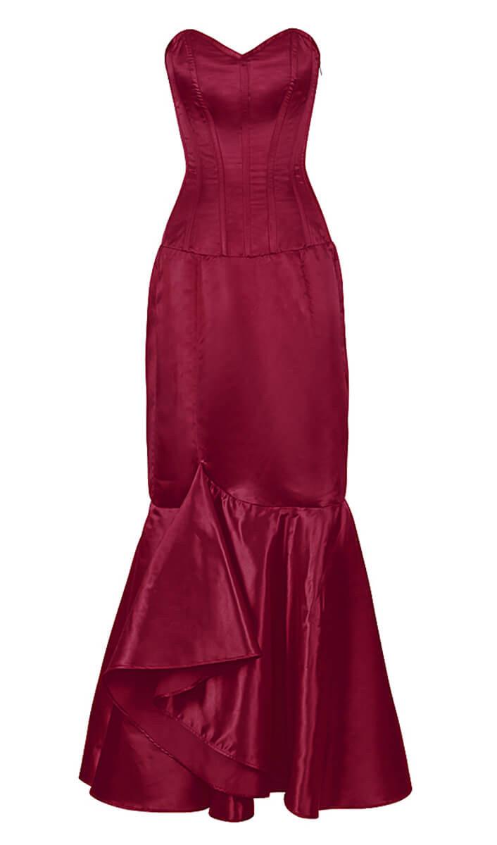 robe corset satin rouge vin l gante gothique chic et. Black Bedroom Furniture Sets. Home Design Ideas