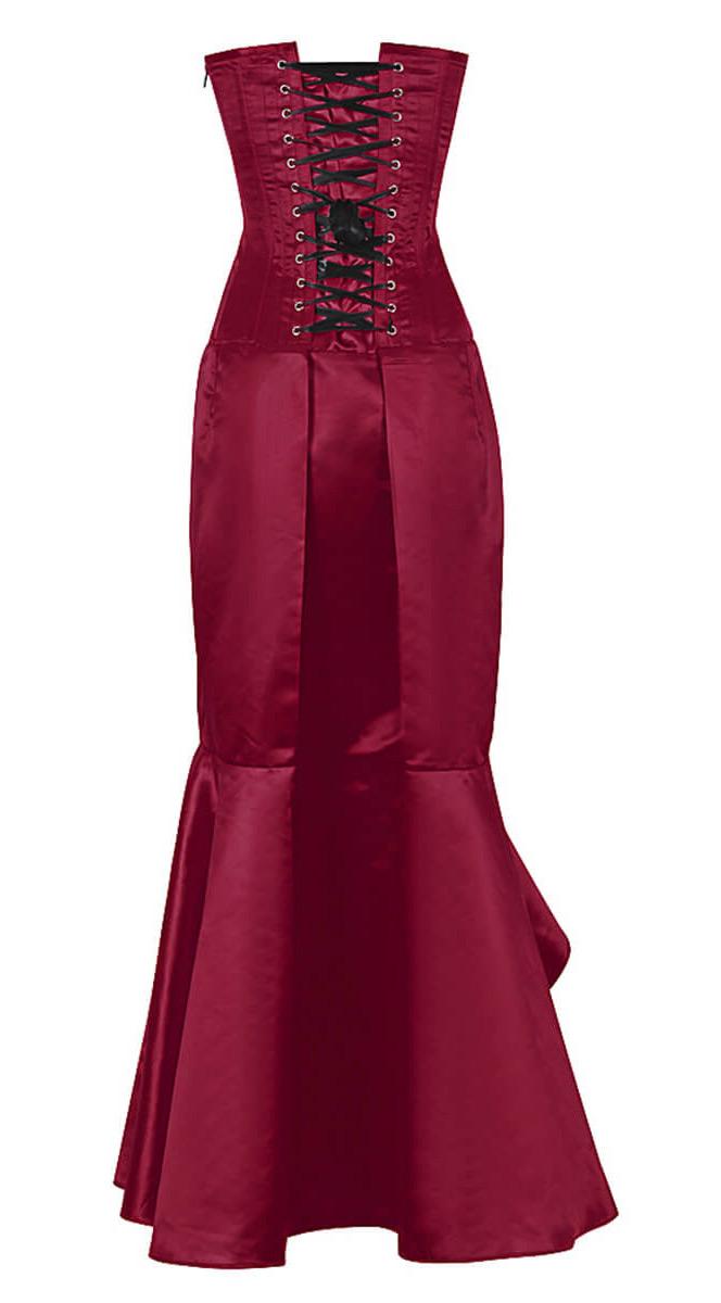 robe corset satin rouge vin l gante gothique chic et longue jupe robe de soir ebay. Black Bedroom Furniture Sets. Home Design Ideas