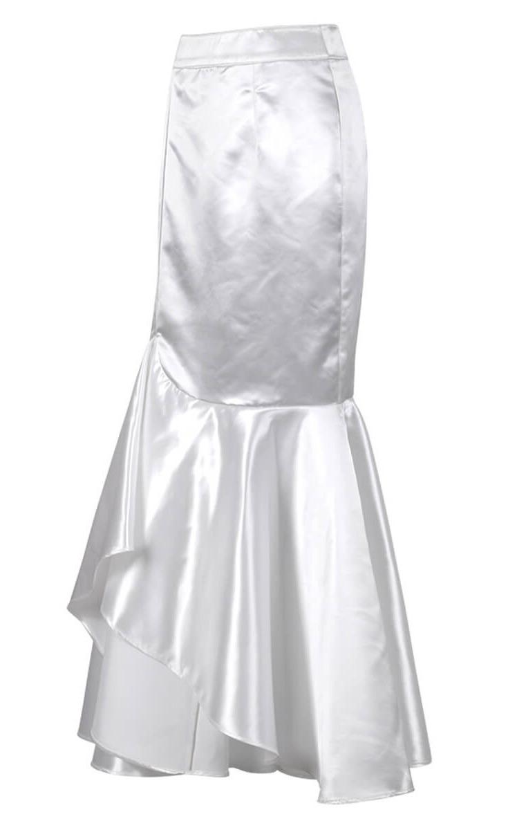 c8de54205a0924 Longue jupe sirène en satin blanc élégante gothique fashion, tenue de  soirée, cocktail Référence : VGLM0279