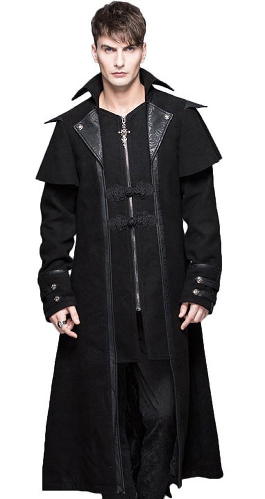 Manteau long noir classe avec broderies, effet 2pcs, gothique éléga Devil Fashio