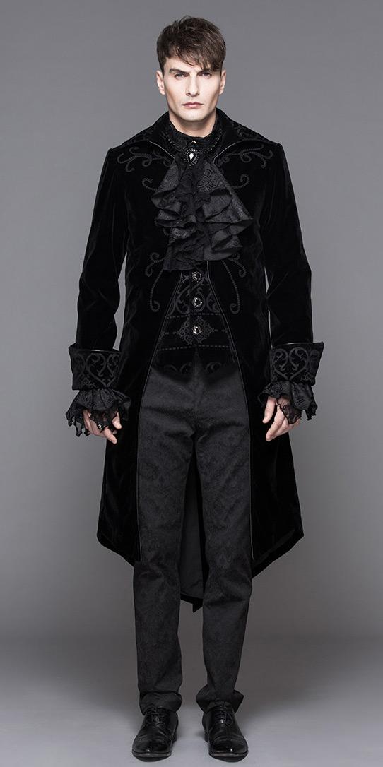 Black Velvet Men Jacket With Embroidery Fake 2pcs Elegant Gothic Aristocrat