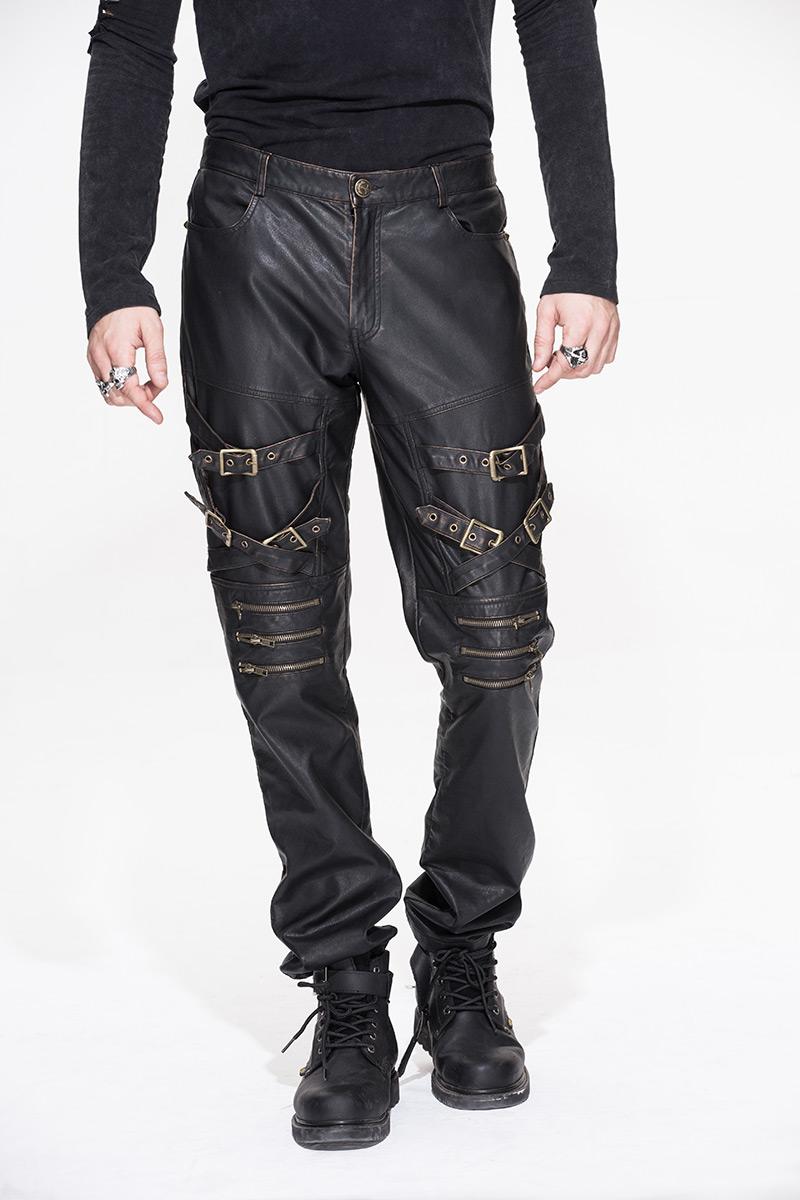 pantalon homme imitation cuir marron fonc avec sangles gothique rock steampunk japan. Black Bedroom Furniture Sets. Home Design Ideas