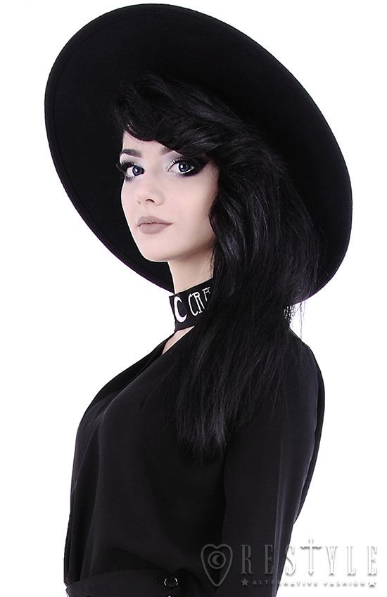 Black Gothic Hat WITCH Wide brim hat 3df6c39ad96