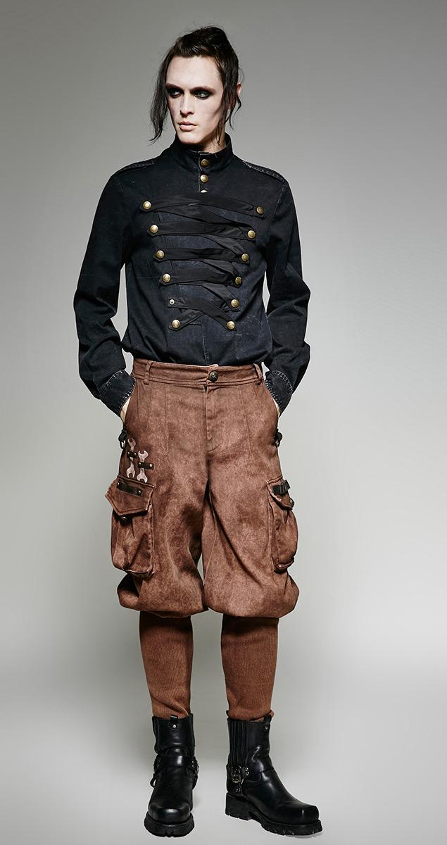 pantalon marron militaire m canicien steampunk homme avec grandes poches punk rave japan. Black Bedroom Furniture Sets. Home Design Ideas