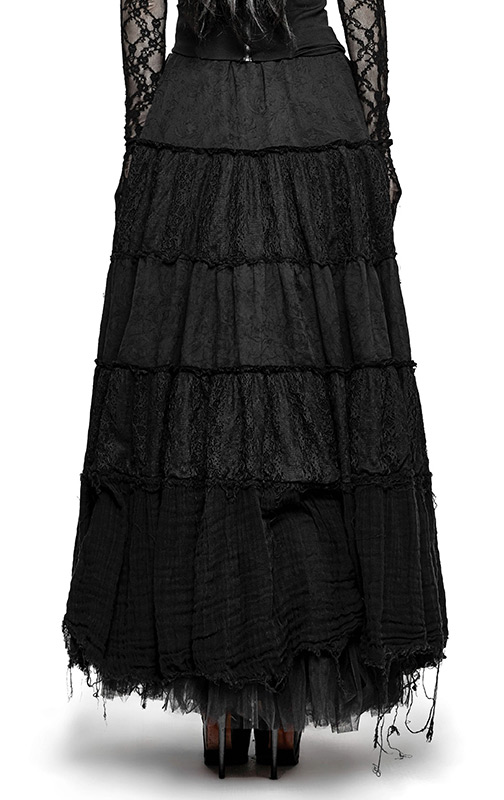 Long Black Witch Skirt With Ragged Bottom Effect Gothic Witchy