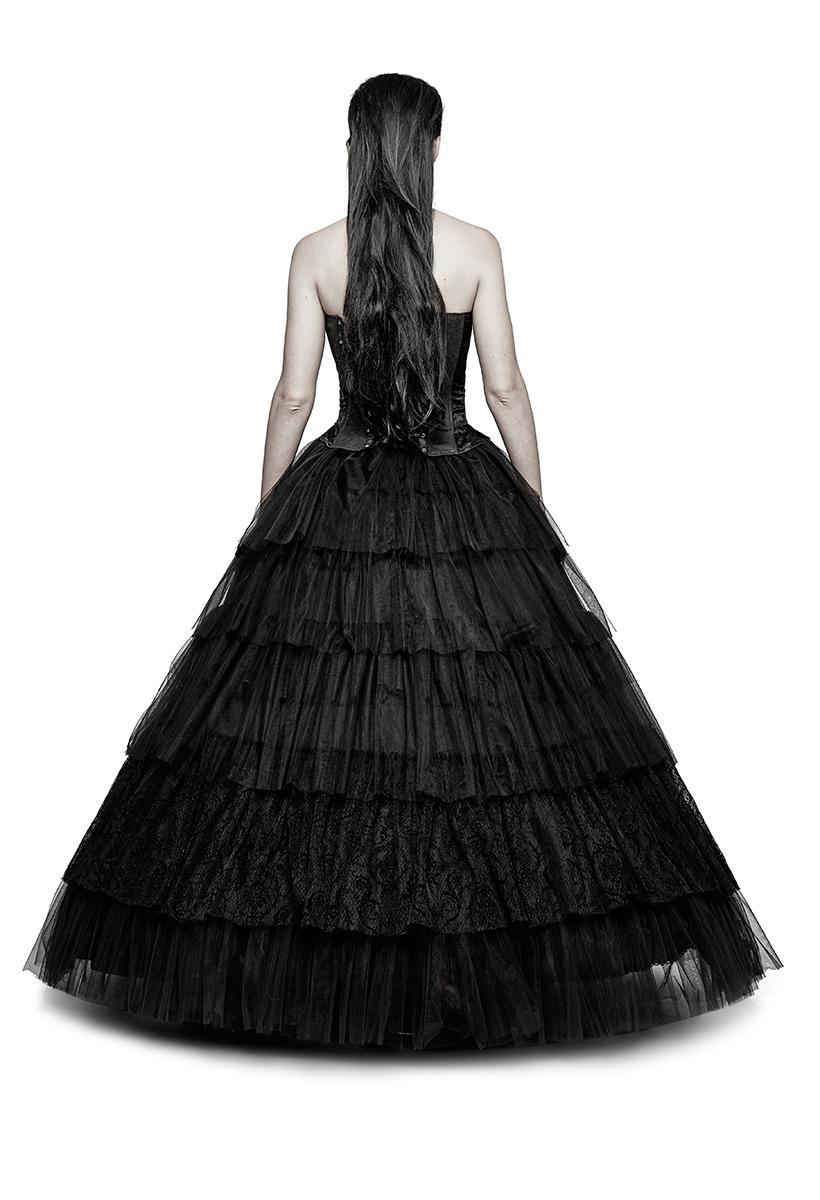 Longue jupe noire 2en1 jupon, gothique romantique élégant aristocrate, Punk Rave Référence : PUNKR0231