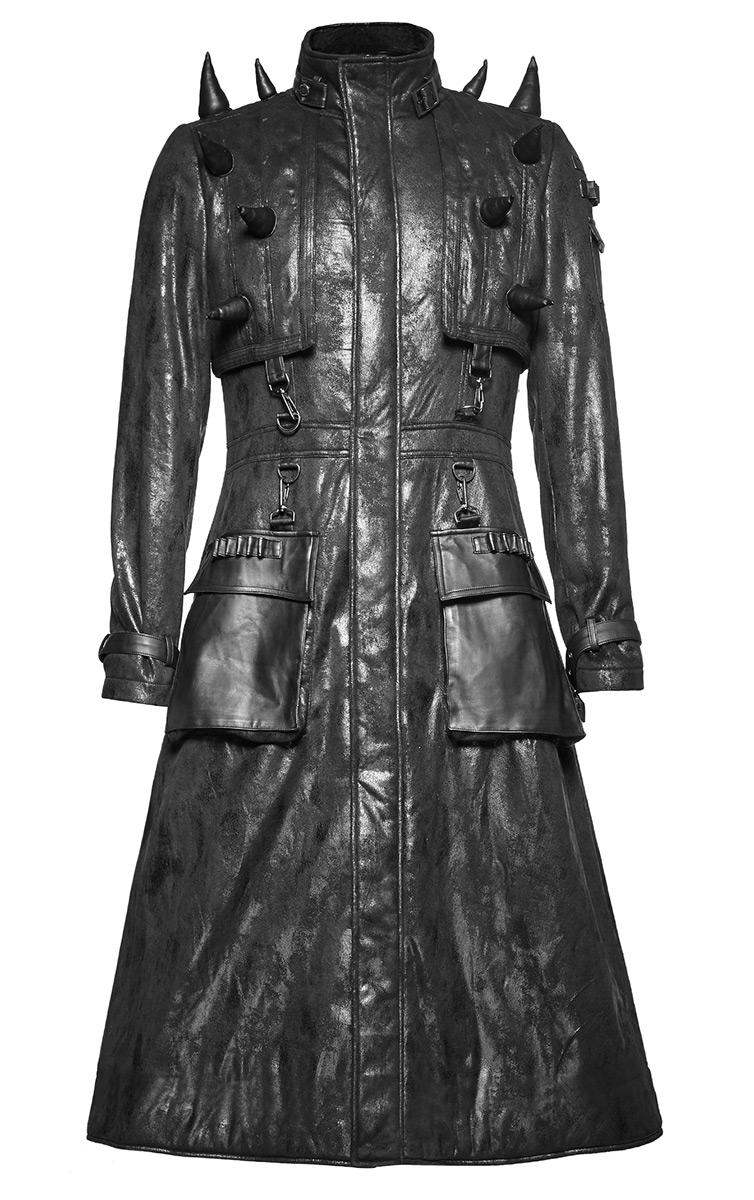 manteau long homme imitation cuir noir avec pics gothique punk rock punk rave japan attitude. Black Bedroom Furniture Sets. Home Design Ideas