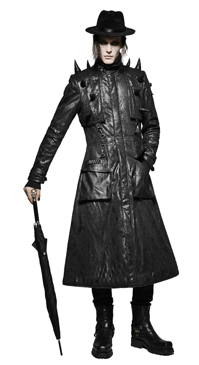 manteau long homme imitation cuir noir avec pics gothique. Black Bedroom Furniture Sets. Home Design Ideas