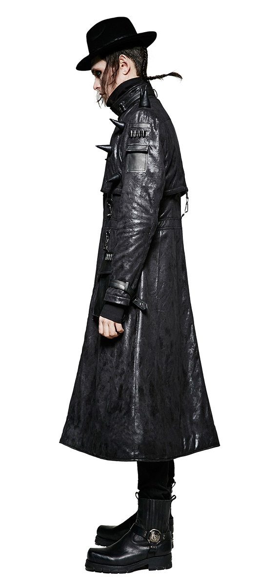 ca8452c3f000 Manteau long homme imitation cuir noir avec pics