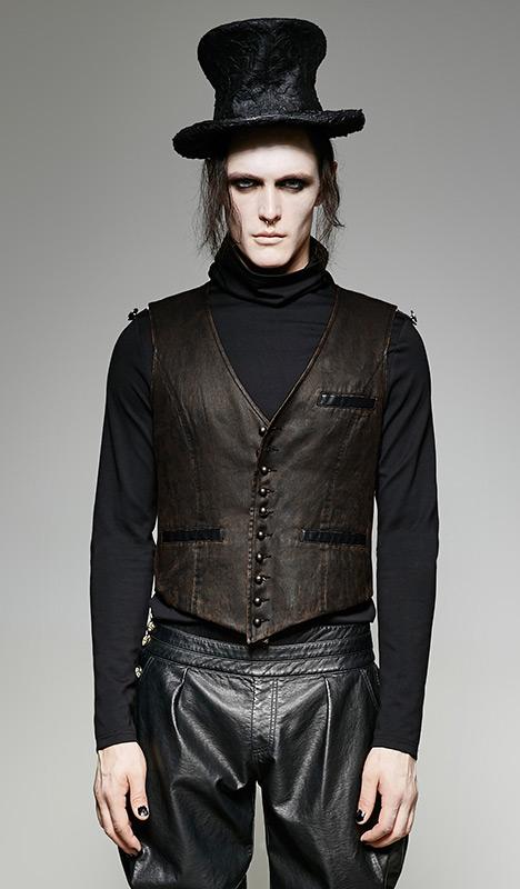 veste gilet de costume homme imitation cuir marron vintage steampunk punk rave japan. Black Bedroom Furniture Sets. Home Design Ideas