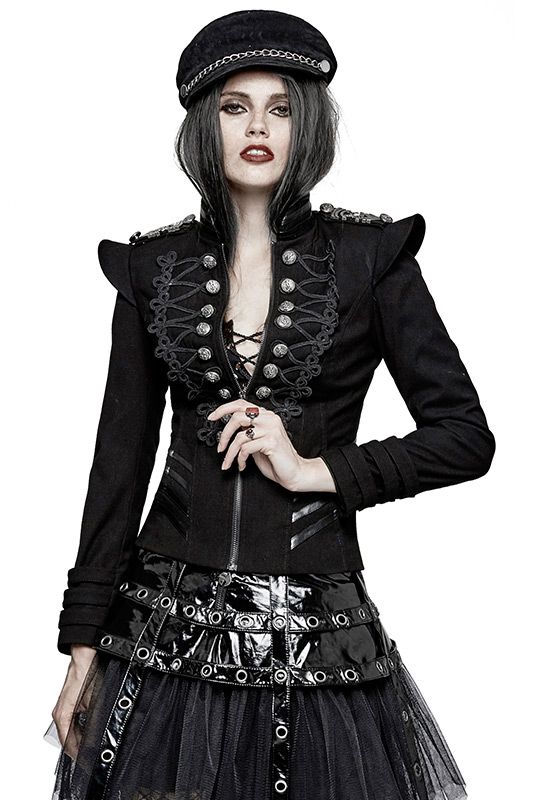 veste noire militaire avec paulettes et broderies gothique retro punk rave femme japan. Black Bedroom Furniture Sets. Home Design Ideas