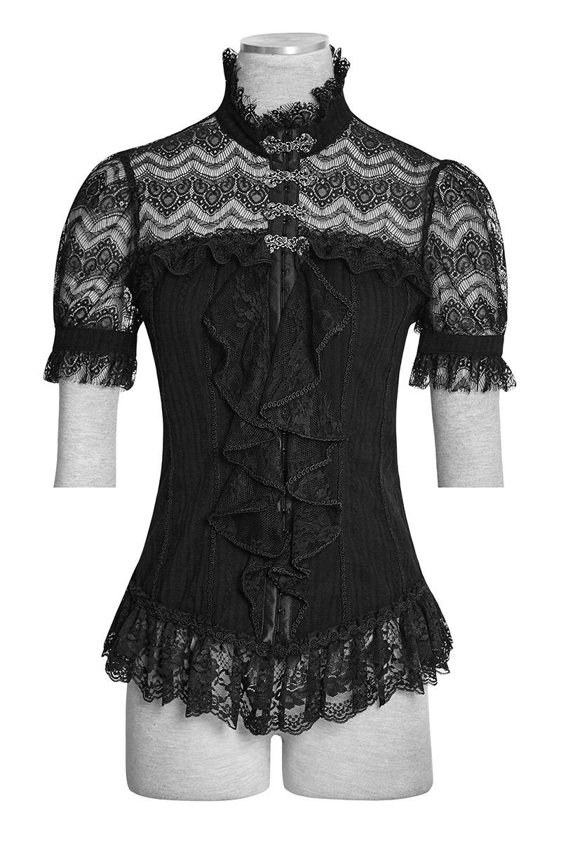 Chemise top noir femme en dentelle avec jabot et laçage au dos, gothique  élégant Punk