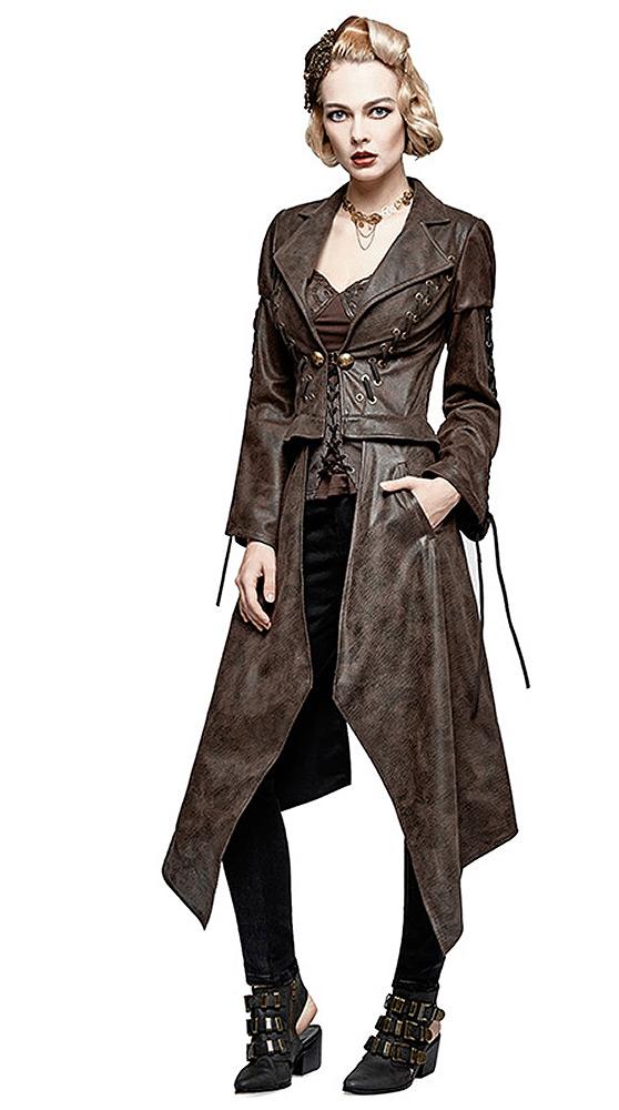 334b134205 Veste courte ou manteau long imitation cuir marron femme 2en1, stea Punk  Rave