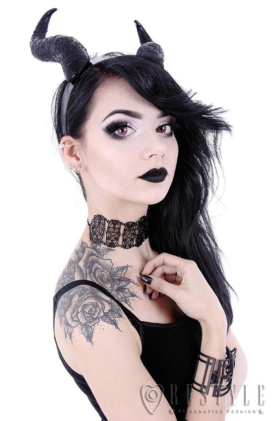 915fc9079 Black EVIL HORNS, Gothic Headpiece, headband, satan horns retyle ...