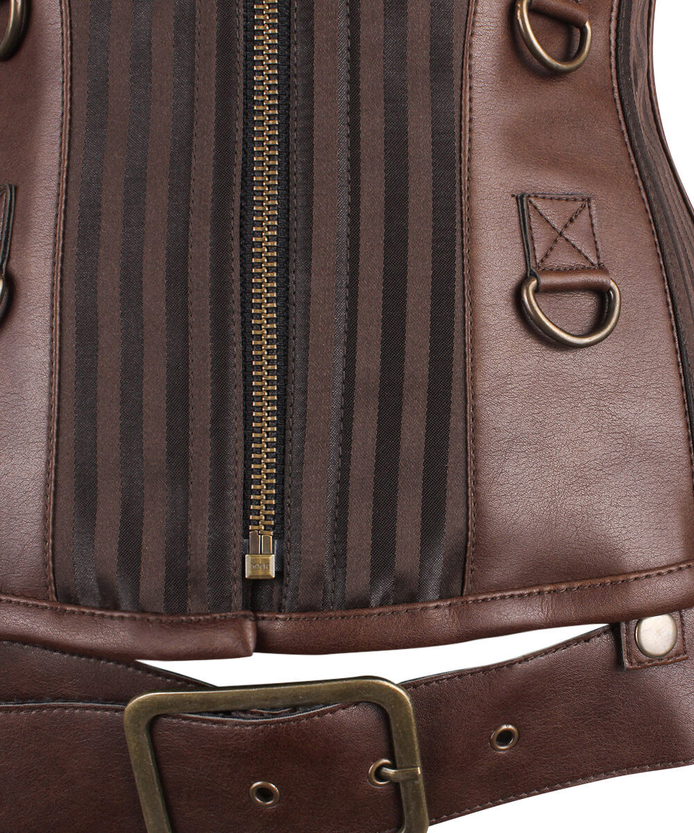 89b718f5cd08 Corset steampunk satin marron et faux cuir baleines en .