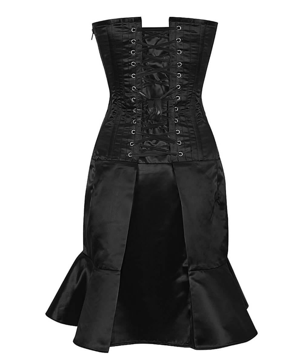 Kleid korsett satin schwarz rock gefaltet, gotik elegant cocktail ...