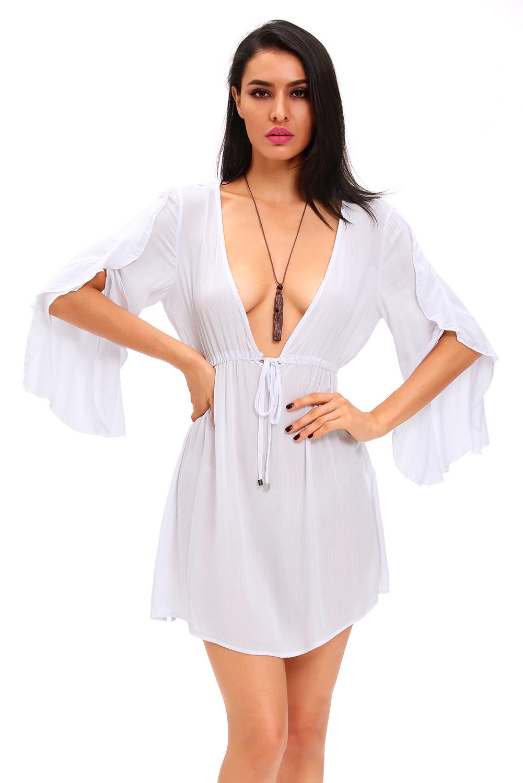 chemise de nuit blanche semi transparente avec grand d collet sexy japan attitude linnui027. Black Bedroom Furniture Sets. Home Design Ideas