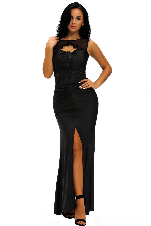 Vestito lungo nero elegante con slot e scollato ricamato a3296957e5d
